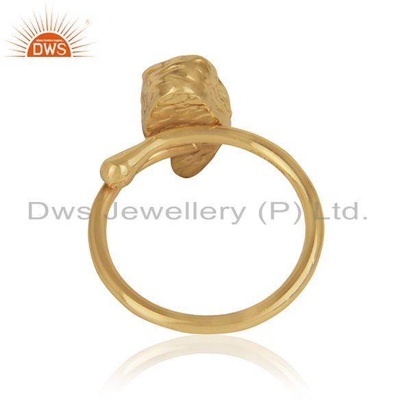Designer of Rough aquamarine gemstone designer gold plated brass ring jewelry