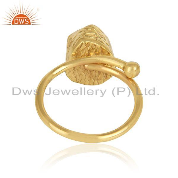 Designer of 18k gold plated rough citrine gemstone designer brass rings