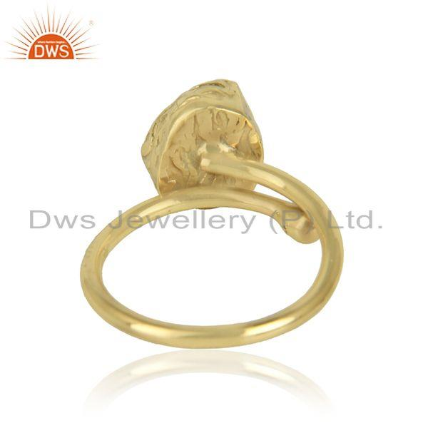 Designer of Gold plated designer brass fashion rough amethyst gemstone rings