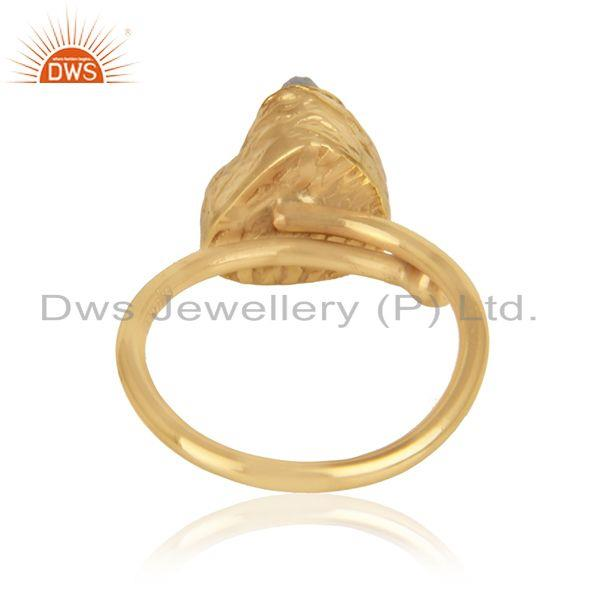 Designer of Rainbow moonstone womens gold plated brass designer fashion rings