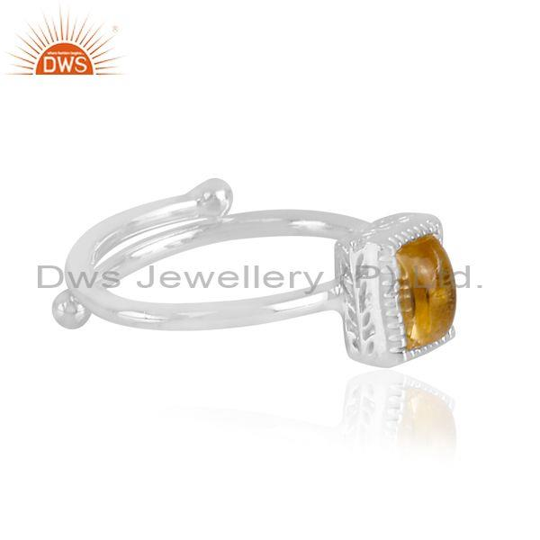 Rectangle cut citrine set fine sterling silver classic ring