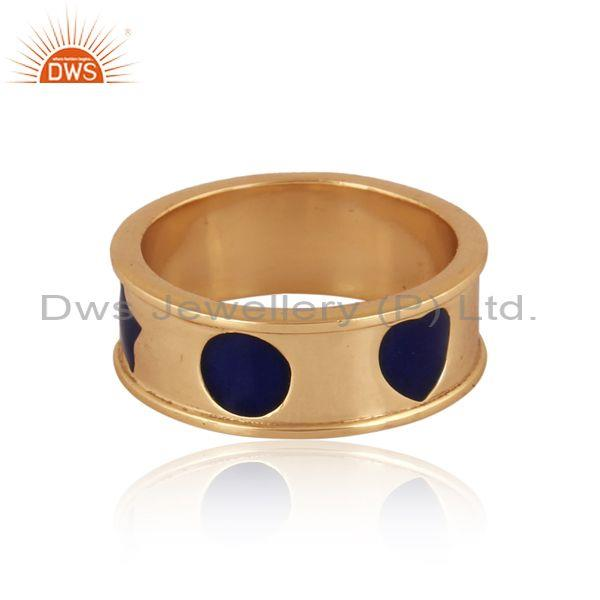 Handmade and handhammered brass gold quirky band style ring