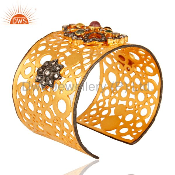 Suppliers Hand-crafted 18K Yellow Plated Brass Filigree Design Cuff Bracelet With Tourmali