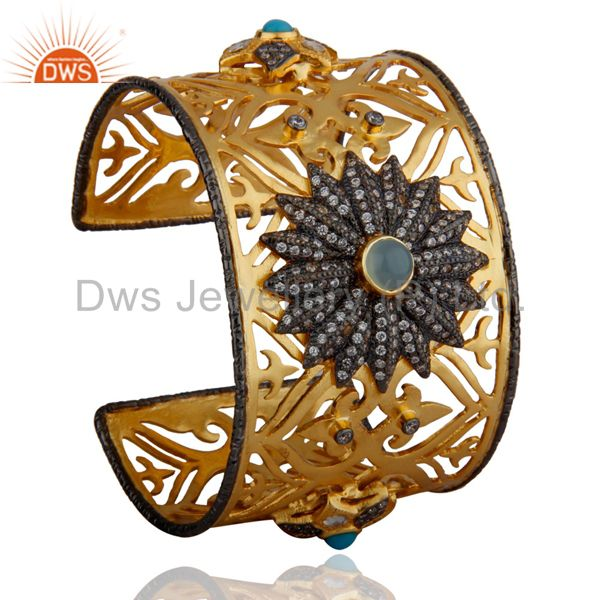 Suppliers 14K Yellow Gold Plated Chalcedony And CZ Filigree Designer Fashion Cuff Bangle