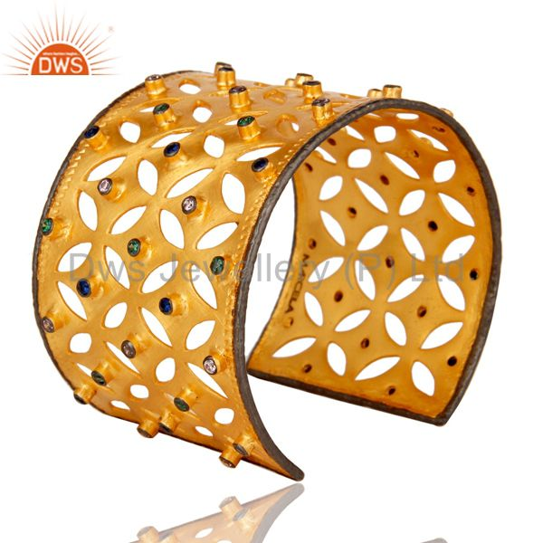 Suppliers 22K Yellow Gold Plated Brass Multi Color Zircon Bridal Fashion Cuff Bracelet