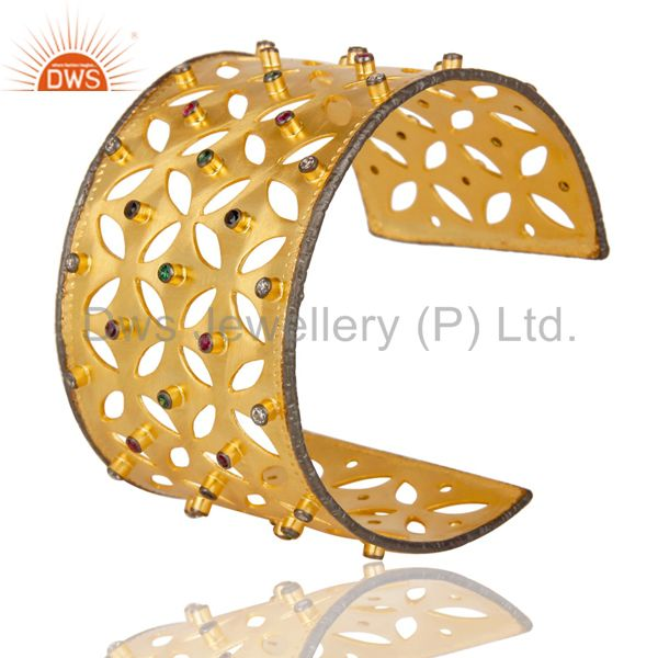 Suppliers 24K Yellow Gold Plated Multi Cubic Zirconia Fashion Wide Cuff Bracelet Bangle