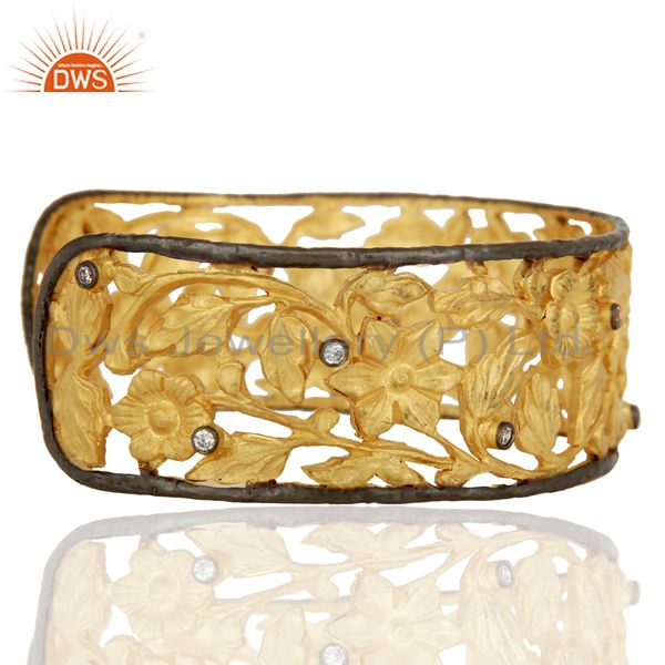 Suppliers 22K Yellow Gold Plated Brass CZ Floral Filigree Fashion Cuff Bracelet Bangle