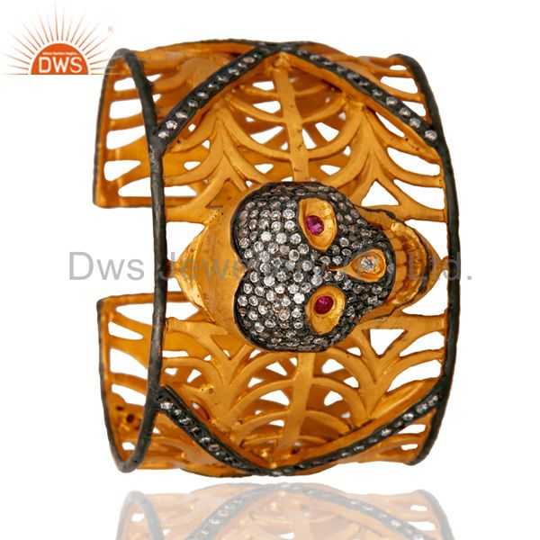 Suppliers 18K Yellow Gold Plated On Brass Clear Cubic Zirconia Skull Cuff Bangle Bracelet