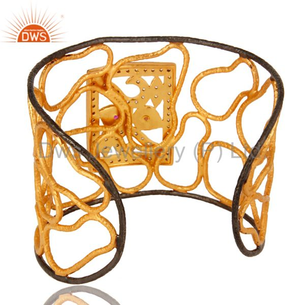 Suppliers Handmade 22K Yellow Gold Plated Brass Wire Wide Cuff Bracelet With CZ