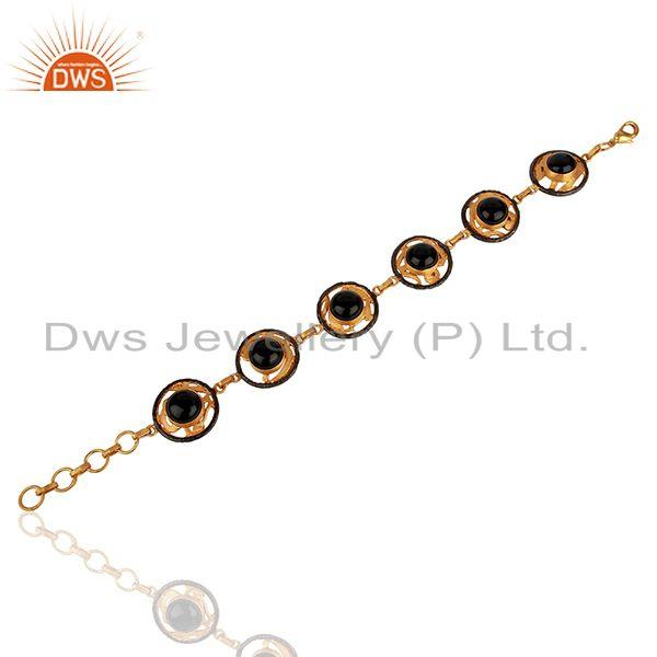 Suppliers Natural Black Onyx Gemstone Gold Plated Brass Fashion Bracelet Jewelry