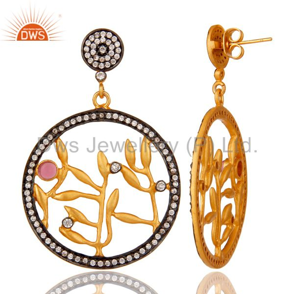Suppliers Handmade Pave CZ and Pink Glass 18 k Yellow Gold Plated Fashion Dangle Earrings