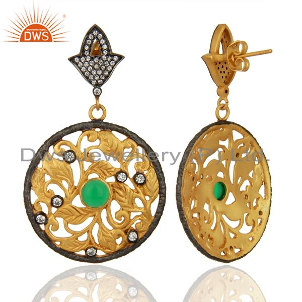 Suppliers 24K Yellow Gold Plated Green Tourmaline And CZ Leaf Design Dangle Earrings