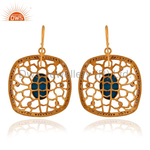 Suppliers 14K Yellow Gold Plated Over Brass Zircon & Turquoise Gemstone Designer Earrings