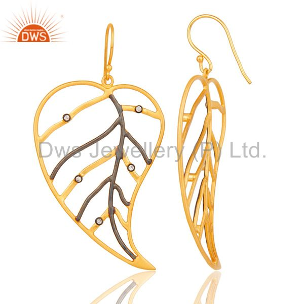Suppliers 18K Yellow Gold Plated Cubic Zirconia Pan Leaf Design Dangle Brass Earring