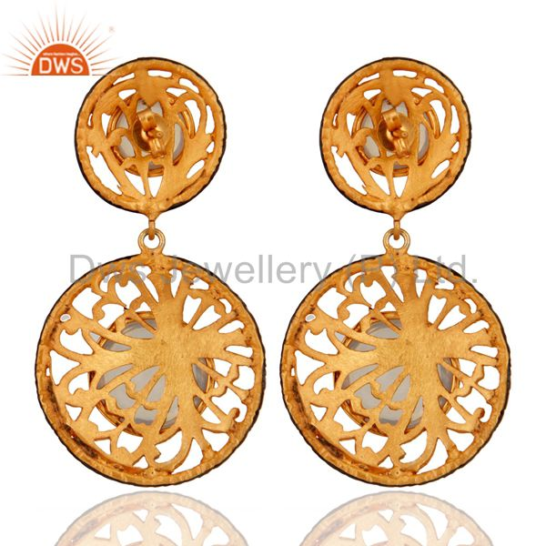 Suppliers Gold Plated Synthetic Fire Opal Handmade Filigree Designer Earring