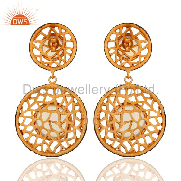 Suppliers Handmade 14k Yellow Gold Plated Created Fire Opal Filigree Design Earrings