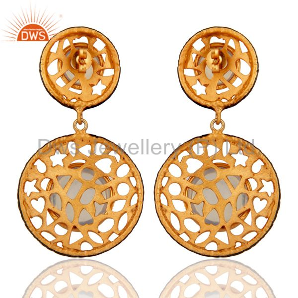 Suppliers 18K Gold Over Brass Created Fire Opal Gemstone Filigree Designer Earring