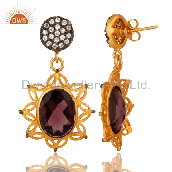 Suppliers Handmade Hydro Amethyst And Cubic Zirconia Dangle Earrings With Gold Plated