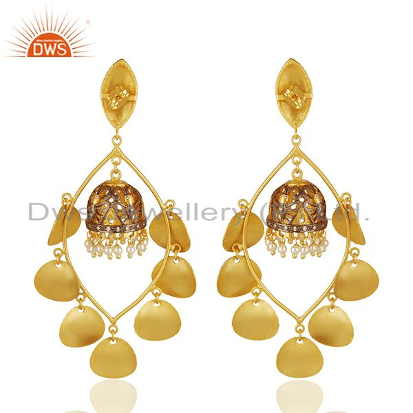 Suppliers 18K Yellow Gold Plated Brushed Finish Natural Pearl Designer Earrings