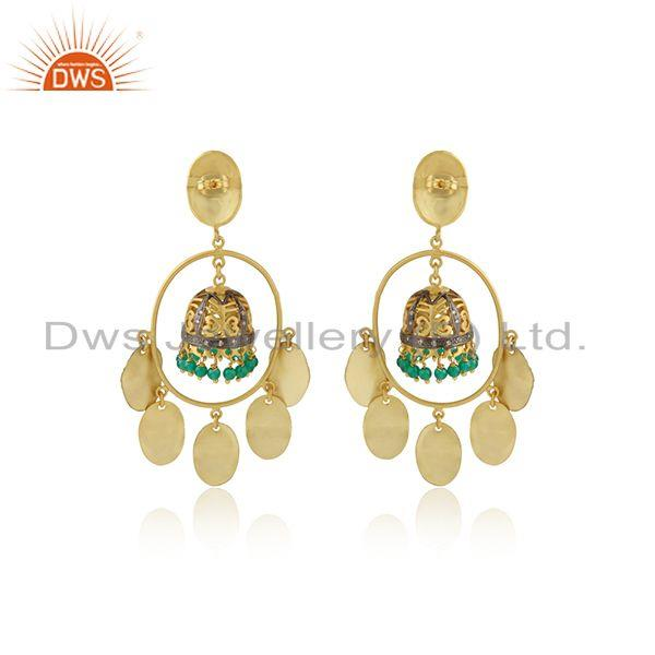 Designer of Traditional gold over jhumka green onyx cz brass fashion earrings