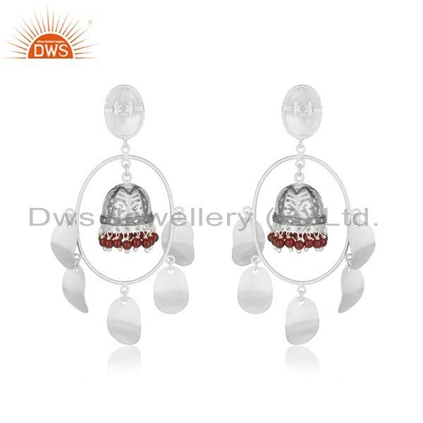 Suppliers Multi Color Brass Fashion Red Onyx Gemstone Jhumka Earrings Wholesale
