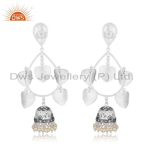 Suppliers White Pearl Multi Plating Brass Fashion Jhumka Indian Earrings Wholesaler India