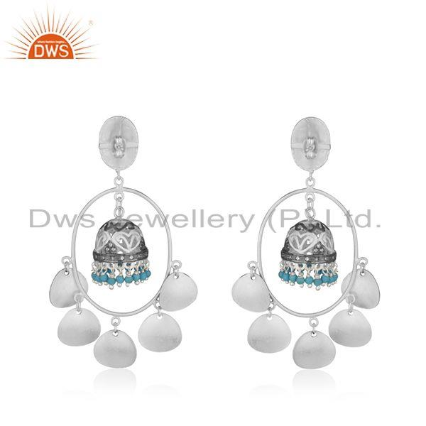 Suppliers Traditional Silver Plated Brass Fashion Gemstone Jhumka Earrings Manufacturer