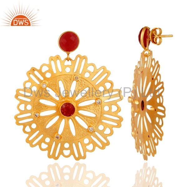 Suppliers 22K Yellow Gold Plated Over Brass Red Aventurine And White Zirconia Earrings
