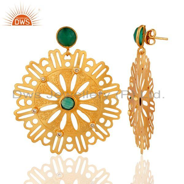 Suppliers Beautiful Handcrafted 22K Yellow Gold Plated Green Onyx Desginer Earrings