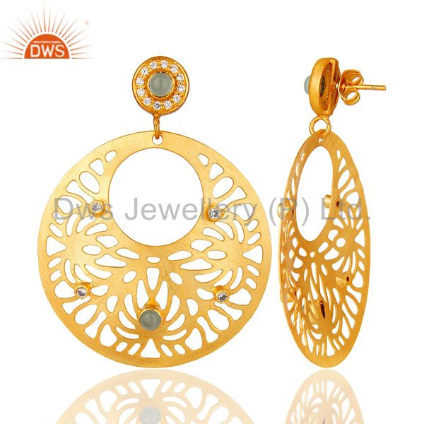 Suppliers 18K Yellow Gold Plated Brass Aqua Chalcedony And CZ Filigree Earrings