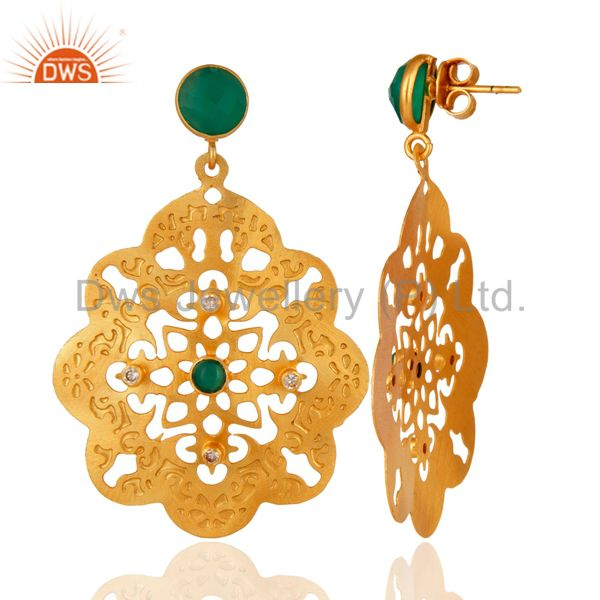 Suppliers 24K Yellow Gold Plated Green Onyx Gemstone Designer Fashion Earrings With CZ