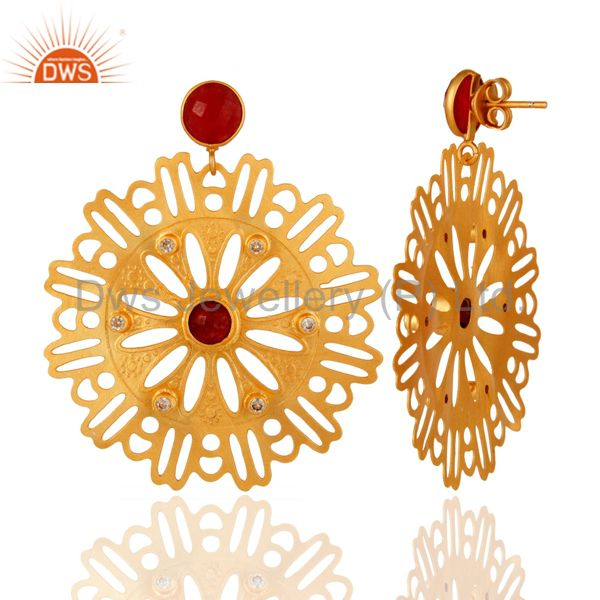 Suppliers Red Aventurine Gemstone Earrings - Handcrafted Gold Plated Fashion Jewelry