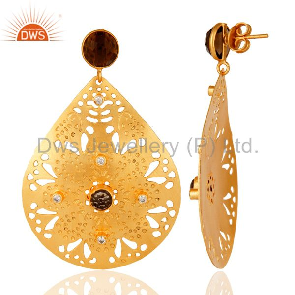 Suppliers 14K Yellow Gold Plated Smoky Quartz And Cubic Zirconia Unique Design Earrings
