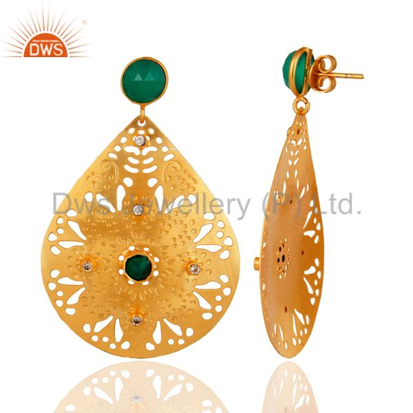 Suppliers Handmade Green Onyx Gemstone 22K Yellow Gold Plated Designer Earrings