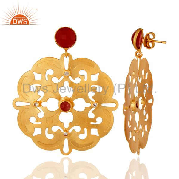 Suppliers Designer Inspired 24K Yellow Gold Plated Aventurine Gemstone Earrings With CZ