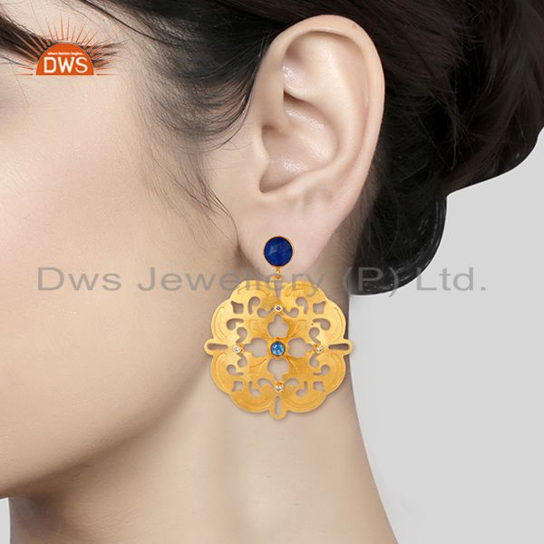 Suppliers 14K Yellow Gold Plated Blue Aventurine And White Zircon Designer Earrings