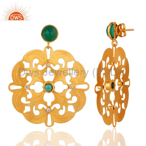 Suppliers Green Onyx Gemstone Handmade Earrings - Yellow Gold Plated Designer Jewelry