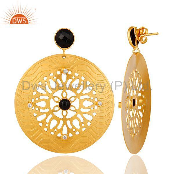 Designers 22k Gold Plated Handmade Filigree Designer Black Onyx Dangle Earrings