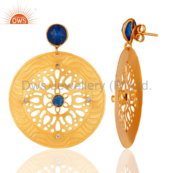 Suppliers Blue Aventurine & Cubic Zirconia 18K Yellow Gold Plated Handmade Design Earrings