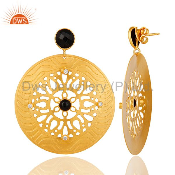 Suppliers 22k Gold Plated Handmade Filigree Designer Black Onyx Dangle Earrings