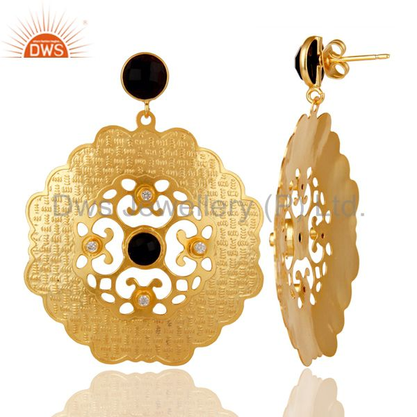 Suppliers Handmade 18K Yellow Gold Plated Designer Earrings With Black Onyx And CZ