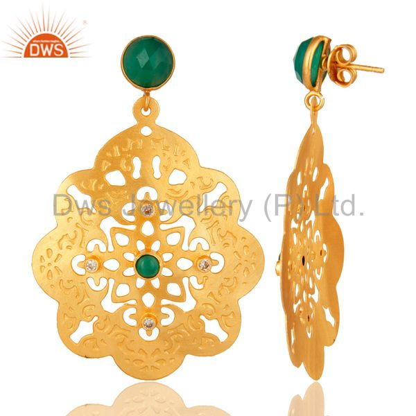 Suppliers 24K Yellow Gold Plated Green Onyx Gemstone Filigree Disc Dangle Earrings