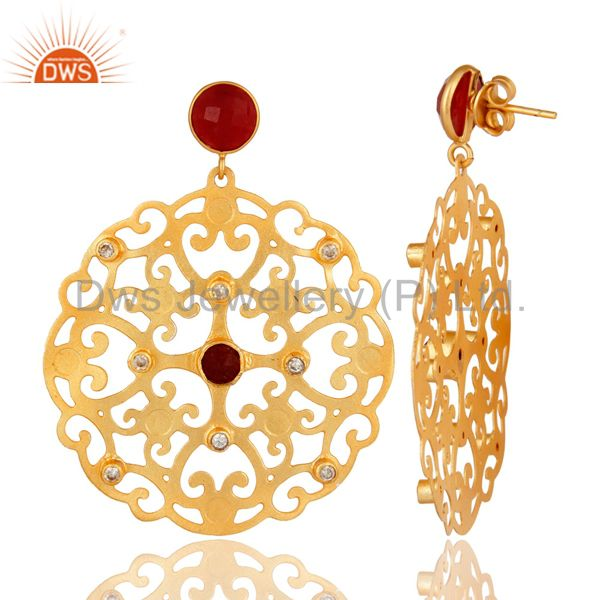 Suppliers 24K Yellow Gold Plated Red Coral Filigree Disc Designer Earrings With CZ
