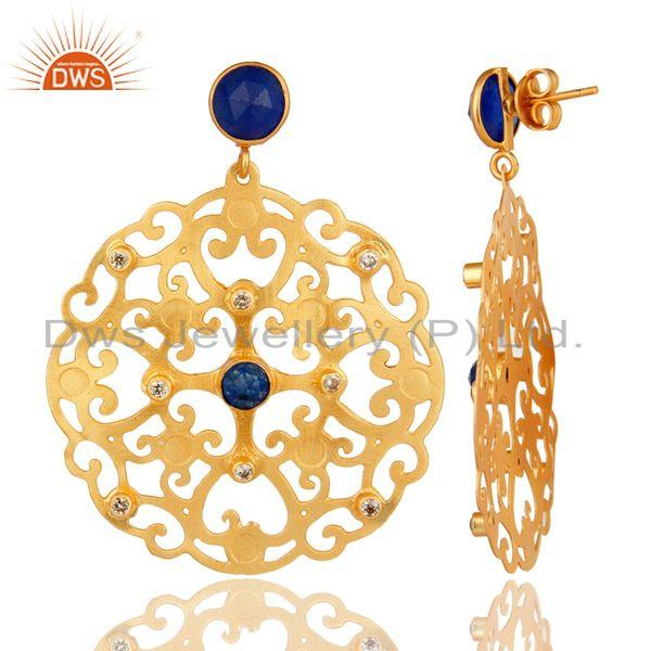 Suppliers 24K Yellow Gold Plated Blue Aventurine Filigree Disc Designer Earrings With CZ