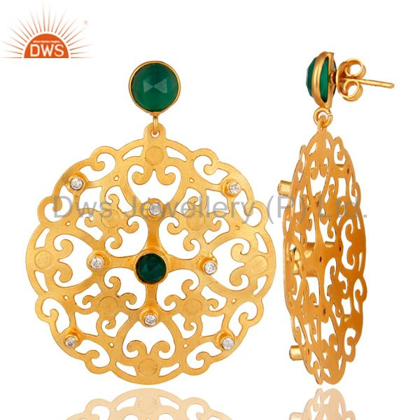 Suppliers 24K Yellow Gold Plated Green Onyx Filigree Disc Designer Earrings With CZ