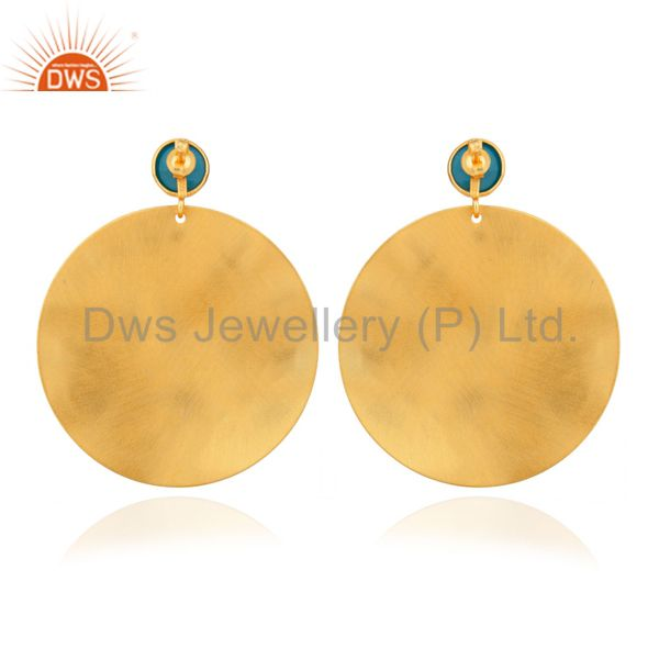 Suppliers Handmade Turquoise And CZ 22K Yellow Gold Plated Brass Disc Dangle Earrings