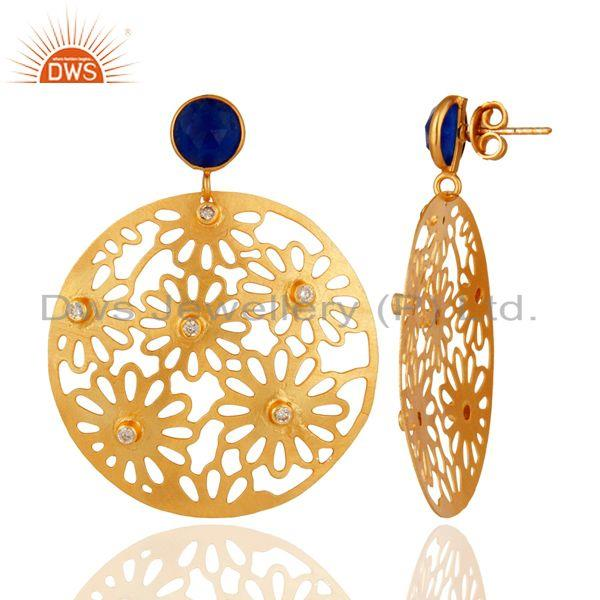 Suppliers Aventurine & Cubic Zirconia 18k Yellow Gold Plated Filigree Disc Dangle Earring