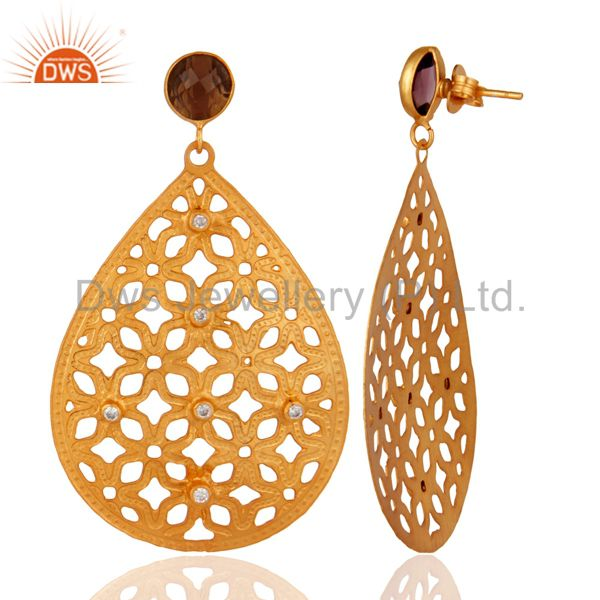 Suppliers Designer 22k Yellow Gold Plated Hydro Amethyst Handmade Filigree Design Earring
