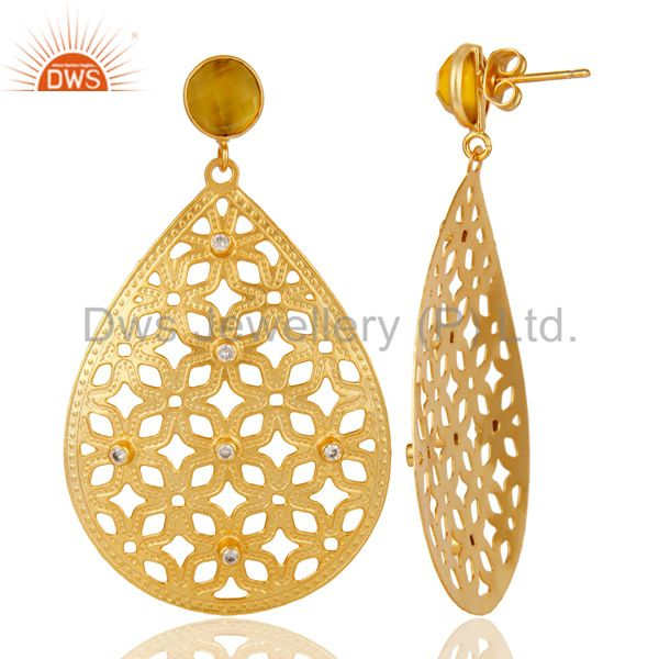 Suppliers Handmade Filigree 24K Gold Plated Chalcedony Gemstone & CZ Drop Brass Earring