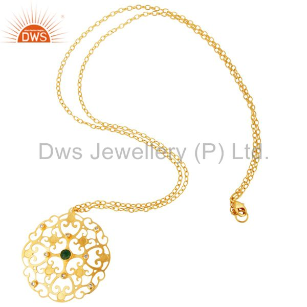 Suppliers Handmade Gold Plated Green Onyx Gemstone Designer Pendant Necklace With CZ